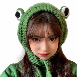 Tocwick Frog Headband Hat Cute Crochet Knitted Headband Outdoors Big Eye Frog Cap Earflap Ear Protective Festival Cosplay Hat Womens Girls
