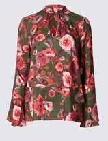 Marks and Spencer Floral Print Tie Neck Long Sleeve Blouse