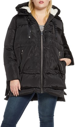 Sam Edelman Faux Shearling Trim Hooded Puffer Jacket