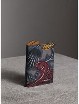 Burberry Beasts Print Leather Folding Card Case