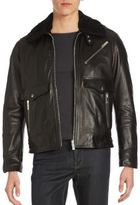 The Kooples Lamb Wool-Trimmed Leather Jacket