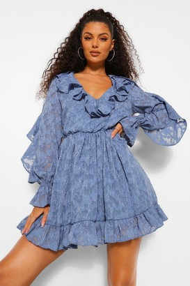 boohoo Lace Ruffle Detail Skater Dress