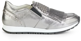 Tod's Fringed Metallic Leather Slip-On Sneakers
