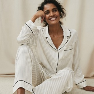 The White Company Silk Piped Dotted-Stripe Pyjama Set, Ivory, Extra Small