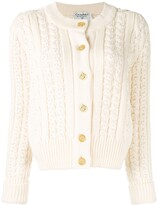 Chanel Pre Owned CC cable knit cardigan