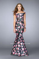 La Femme Off Shoulder Floral Mikado Mermaid Prom Dress 24551