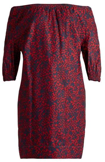 Sonia Rykiel Off The Shoulder Square Print Cotton Top - Womens - Red Multi
