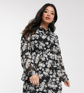 In The Style Plus x Stephsa skater shirt dress in mono floral print