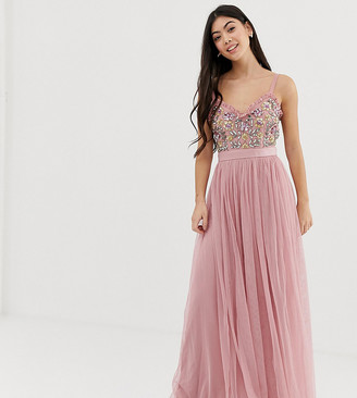 Maya Petite cami strap contrast embellished top tulle detail maxi dress in vintage rose-Pink