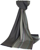 Johnstons of Elgin Wool Scarf With Sports Stripe - Khaki with Purple & Turquoise