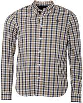 Fred Perry Mens Herringbone Gingham Long Sleeve Shirt Camel