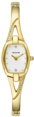 Accurist Womens Gold Tone Japanese Quartz Watch With Crystal Stone Set Dial And Semi Bangle Bracelet Mother Of Pearl Dial Splash Resistant Jewellery Type Clasp 2 year guarantee. LB1292W
