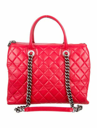 Chanel Quilted Zip Shopping Tote Red