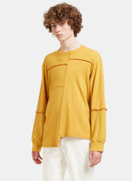 Eckhaus Latta Men's Lapped Stitched Sweater In Yellow