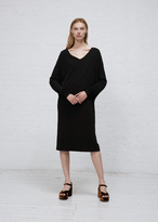Jil Sander black l/s v-neck dress