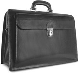 Forzieri Black Italian Leather Buckled Large Doctor Bag