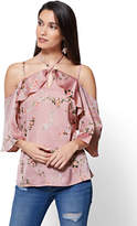 New York & Co. Cold-Shoulder Halter Blouse - Floral