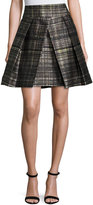 Milly Kayla Confetti-Check Pleated Mini Skirt, Black