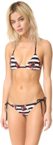 Proenza Schouler Striped Falling Flowers Bikini Set