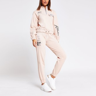 River Island Womens Pink 'ATLR' printed joggers