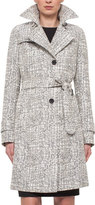 Akris Punto Cross-Stitch Printed Jacquard Trenchcoat, Chalk/Cliff