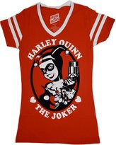 Batman Harley Quinn Varsity Womens Juniors V-Neck T-Shirt (M, )