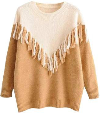 Goodnight Macaroon 'Jody' Bicolor Fringed Knitted Sweater (3 Colors)