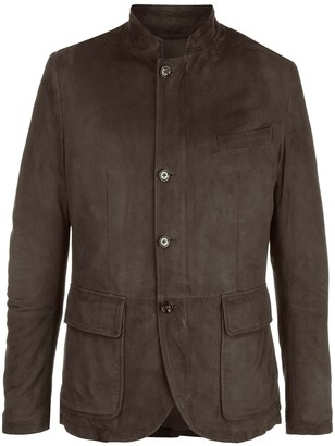 Eleventy Single-Breasted Suede Jacket