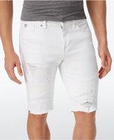 GUESS Men's Slim-Fit Stretch Cutoff Denim Moto Shorts