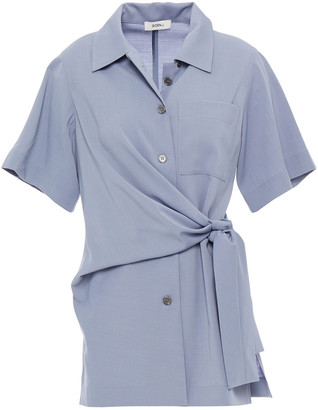GOEN.J Knotted Draped Broadcloth Shirt
