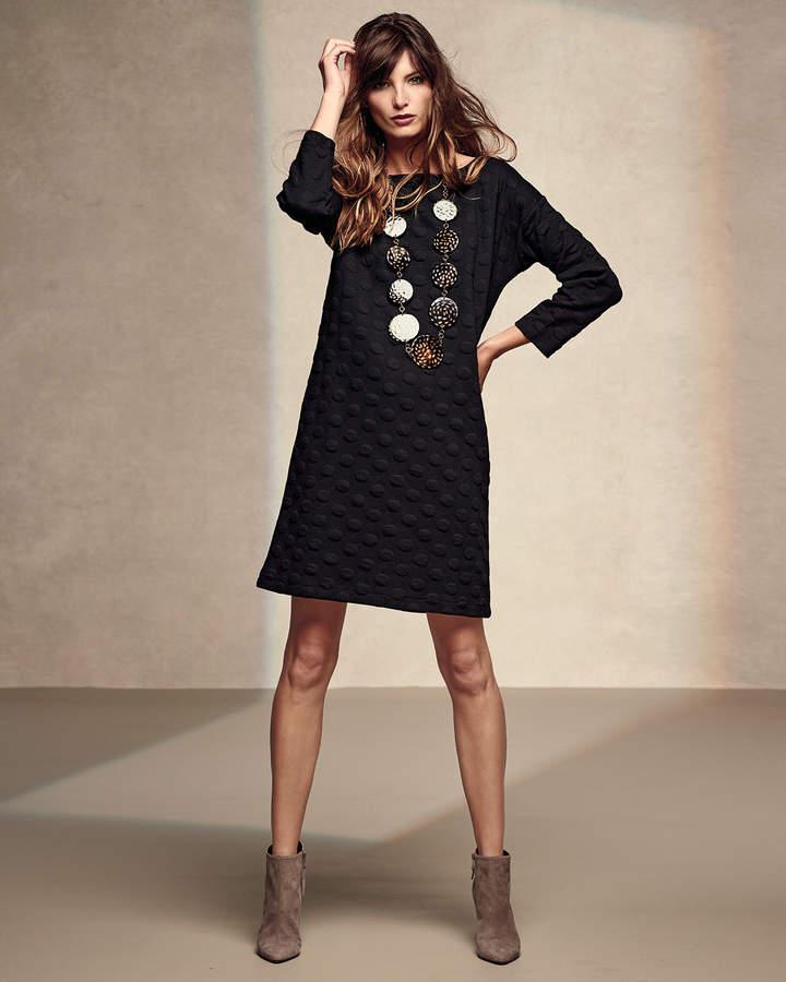 Joan Vass 3/4-Sleeve Textured Dot Dress, Petite