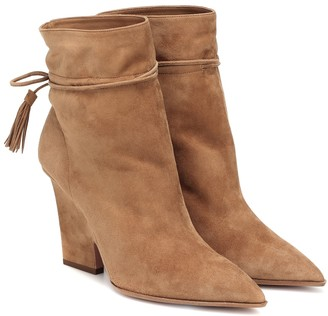 Aquazzura Sartorial 95 suede ankle boots