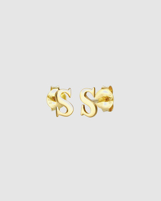 Elli Jewelry Earrings Studs Letter S Initials Minimal in 925 Sterling Silver Gold Plated