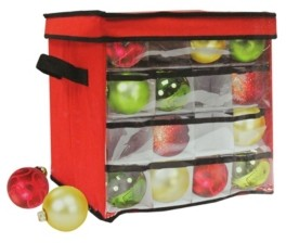 """Northlight 12"""" Red and Clear Christmas Ornament Storage Bag - Holds 64 Ornaments"""