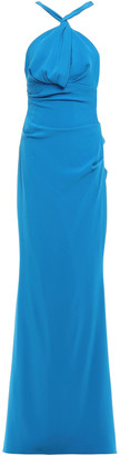 Talbot Runhof Cutout Gathered Stretch-crepe Gown