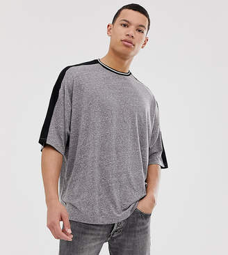 Asos Design DESIGN Tall oversized t-shirt with half sleeve and contrast shoulder taping in interest fabric-Gray