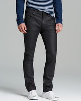 Nudie Jeans Thin Finn Slim Straight Fit Jeans in Coated Black