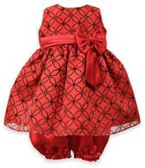Jayne Copeland 2-Piece Flocked Organza Overlay Dress and Bloomer Set in Red/Black
