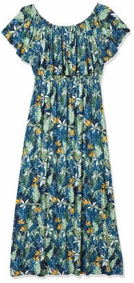 28 Palms Standard Women's Tropical Hawaiian Print Off Shoulder Maxi Dress