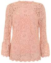 Mint Velvet Nude Lace Flared Cuff Top