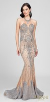 Terani Couture Illusion Beaded Lace Applique Trumpet Evening Dress