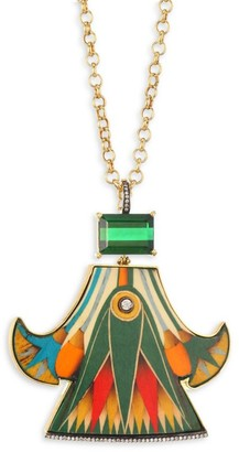 Silvia Furmanovich Marquetry 18K Yellow Gold Pendant Necklace