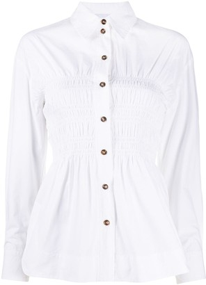 Ganni Shirred-Bodice Long-Sleeve Shirt