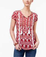 Style&Co. Style & Co Style & Co Petite Mixed-Print Embroidered Peasant Top, Created for Macy's
