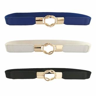CHIC DIARY Women Skinny Belt for Dresses Ladies Fashion Elastic Waist Band Belts Gold Buckle (Blue+White+Black)