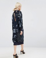 Asos Sequin Midi Dress With Tie Back