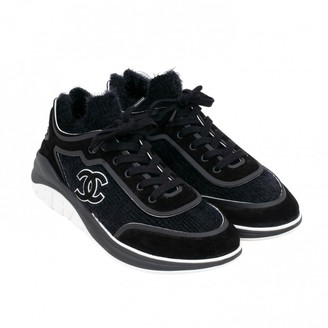 Chanel Black Cloth Trainers