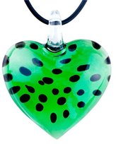 Murano Pugster Black Dots Green Heart Glass Pendant Necklace