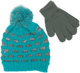 Pink Platinum Blue Honeycomb Beanie & Glove Set