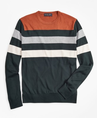 Brooks Brothers Silk and Cotton Stripe Crewneck Sweater
